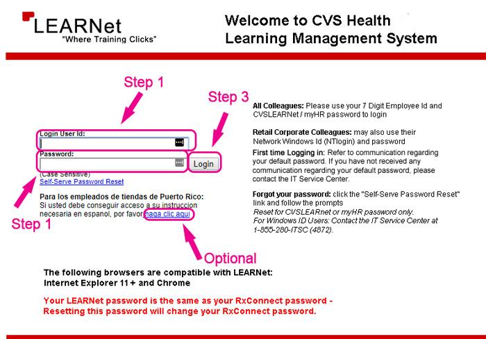 cvs learnet employee login website