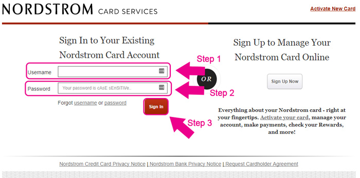 nordstrom credit card login page
