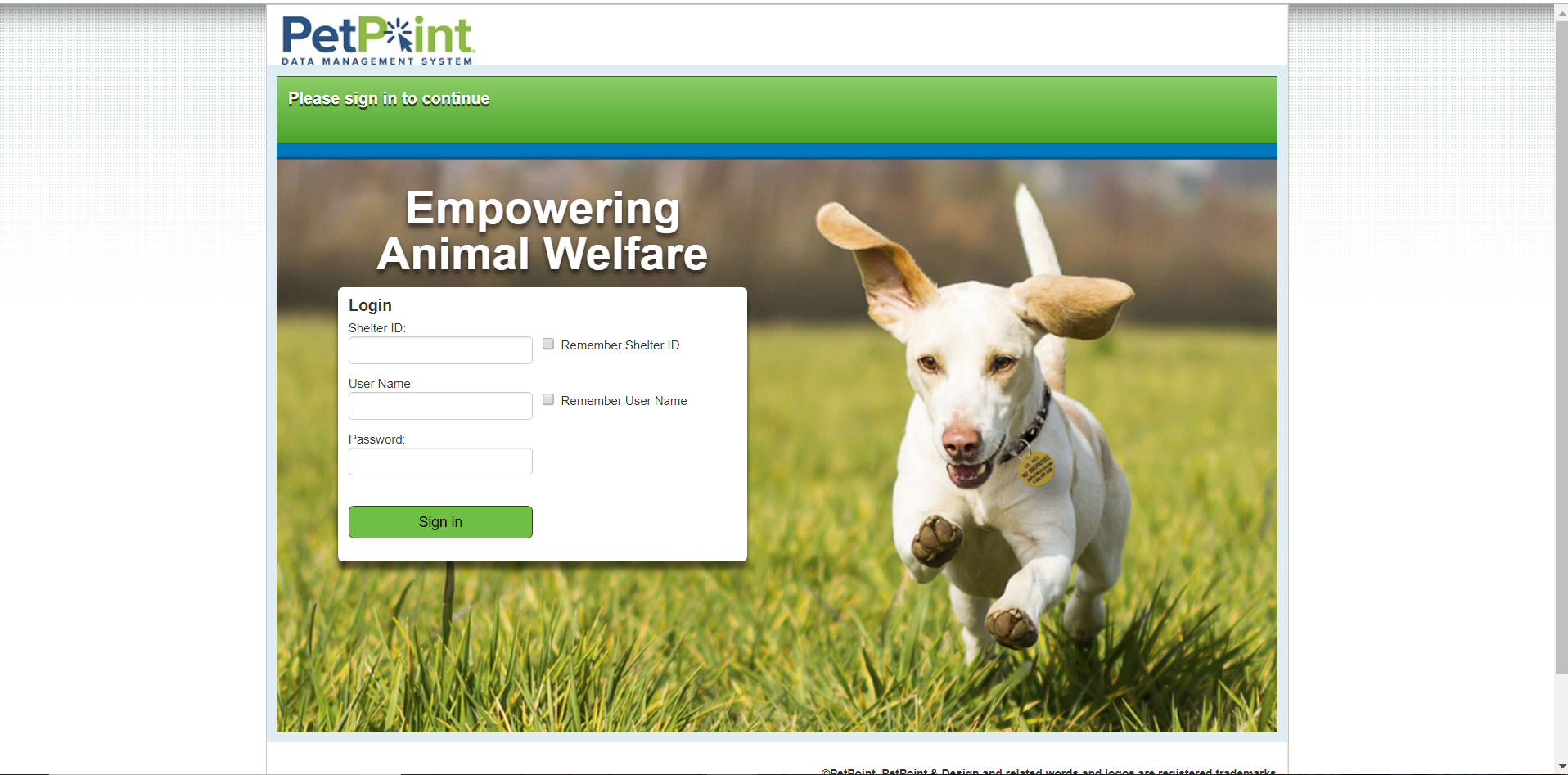 Petpoint Sign in