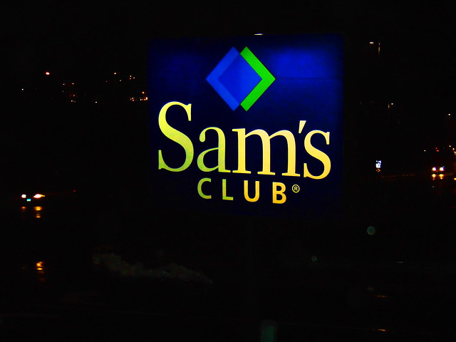Sam's club sign at night