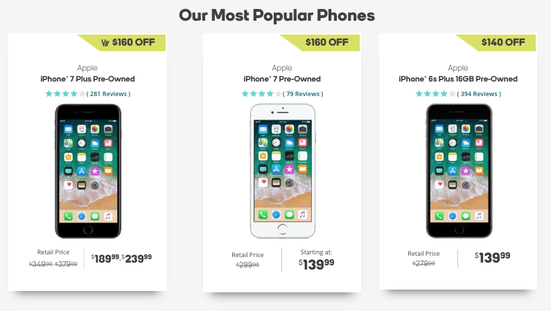 iPhone prices on boost mobile website